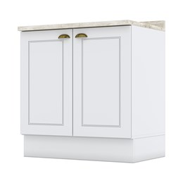 Balcão 2 Portas 80cm com Tampo Americana Branco HP - Móveis Henn