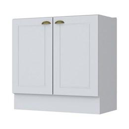 Balcão 2 Portas 80cm com Tampo Cooktop e Aéreo 2 Portas Americana Branco HP - Móveis Henn
