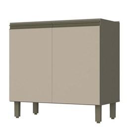 Balcão 2 Portas 80cm com Tampo e Aéreo 2 Portas de Vidro Connect Duna/Cristal - Móveis Henn