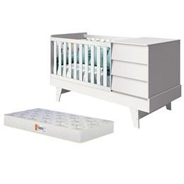 Berço Americano Multifuncional Prince Branco Brilho com Colchão D18 de 10cm - Reller Móveis