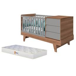 Berço Americano Multifuncional Prince Cinza Fosco/Mezzo com Colchão D18 de 10cm - Reller Móveis