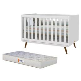 Berço Retro Branco Soft/Eco Wood com Colchão D18 de 10cm Bege - Matic Móveis