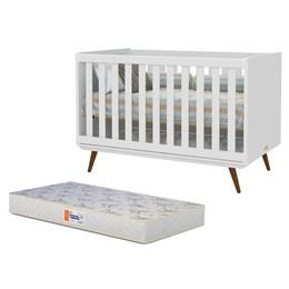 Berço Retro Branco Soft/Eco Wood com Colchão D18 de 10cm Bege - PR Baby