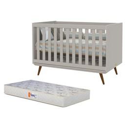 Berço Retro Cinza/Eco Wood com Colchão D18 de 10cm Bege - PR Baby