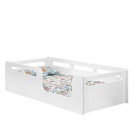 Cama Solteiro Montessori Branco Acetinado com Colchão D20 188x88 - Planet Baby