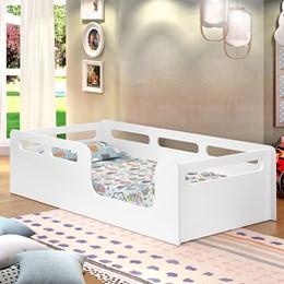 Cama Solteiro Montessori Branco Acetinado - Planet Baby