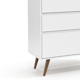 Cômoda Infantil Retrô Clean 3 Gavetas Branco Soft/Eco Wood - Matic Móveis