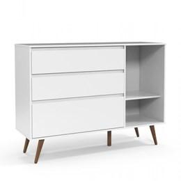 Cômoda Infantil Retrô Clean com Porta Branco Soft/Eco Wood - Matic Móveis