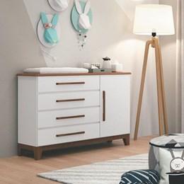 Cômoda Infantil Wood 4 Gavetas Branco/Hannover - Planet Baby
