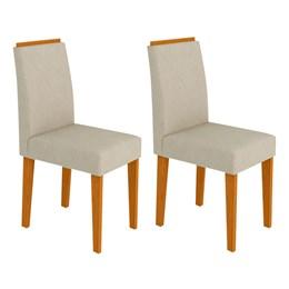 Conjunto 2 Cadeiras Amanda Ipê/Bege - New Ceval