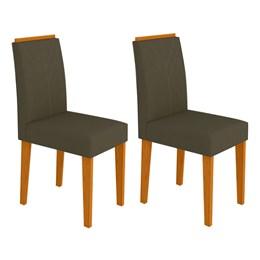 Conjunto 2 Cadeiras Amanda Ipê/Marrom Escuro - New Ceval