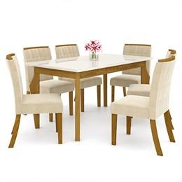 Conjunto Sala de Jantar 6 Cadeiras Ághata Nature/OffWhite/Linho - Móveis Henn