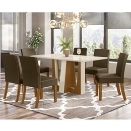 Conjunto Sala de Jantar Mesa Alfa Nature/Off White com 6 Cadeiras Maris Nature/Bege - Móveis Henn