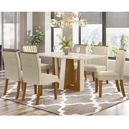 Conjunto Sala de Jantar Mesa Alfa Nature/Off White com 6 Cadeiras Tauá Nature/Linho - Móveis Henn