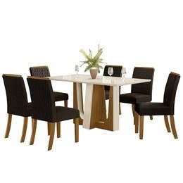 Conjunto Sala de Jantar Mesa Alfa Nature/Off White com 6 Cadeiras Vega Nature/Marrom - Móveis Henn