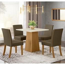 Conjunto Sala de Jantar Mesa Dora Nature/Off White com 4 Cadeiras Maris Nature/Bege - Móveis Henn