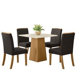Conjunto Sala de Jantar Mesa Dora Nature/Off White com 4 Cadeiras Tauá Nature/Marrom - Móveis Henn