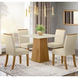 Conjunto Sala de Jantar Mesa Dora Nature/Off White com 4 Cadeiras Vega Nature/Linho - Móveis Henn