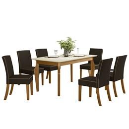 Conjunto Sala de Jantar Mesa Ghala Nature/Off White com 6 Cadeiras Maris Nature/Marrom - Móveis Henn