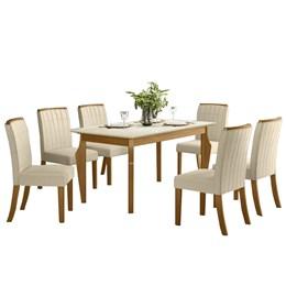 Conjunto Sala de Jantar Mesa Ghala Nature/Off White com 6 Cadeiras Tauá Nature/Linho - Móveis Henn