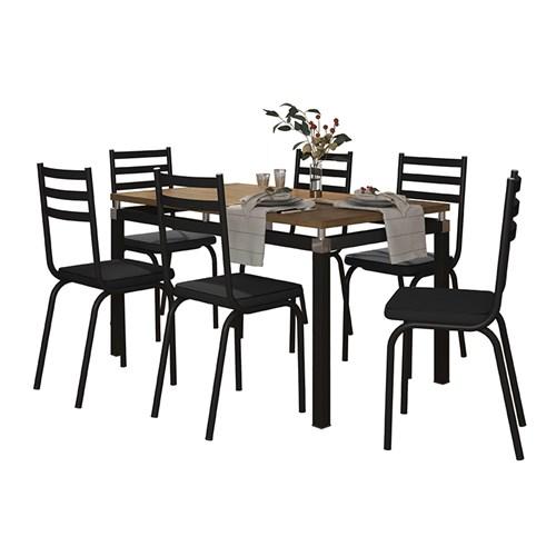 Conjunto Sala de Jantar Mesa Malva 136cm Nature com 6 Cadeiras 118 Preto - Artefamol