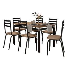 Conjunto Sala de Jantar Mesa Malva 136cm Nature com 6 Cadeiras 118 Preto/Rattan - Artefamol