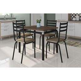 Conjunto Sala de Jantar Mesa Malva 91cm Nature com 4 Cadeiras 118 Preto/Rattan - Artefamol