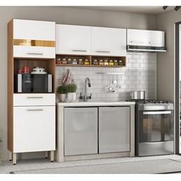 Cozinha Compacta Amarílis 3 Peças Amêndola/Branco - PR Móveis