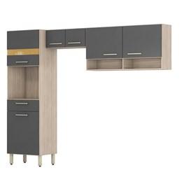 Cozinha Compacta Amarílis 3 Peças Avena/Grafito - PR Móveis