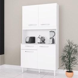 Cozinha Compacta Carine 4 Portas 1 Gaveta - Poquema Branco/Cinza Platinum