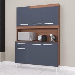 Cozinha Compacta Carine 6 Portas 1 Gaveta Capuccino/Cinza Platinum - Poquema