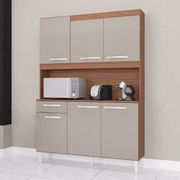 Cozinha Compacta Carine 6 Portas 1 Gaveta Capuccino/Off White - Poquema