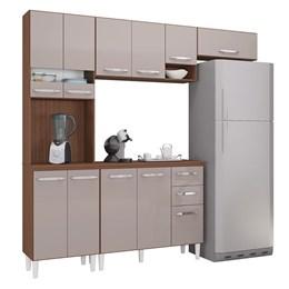 Cozinha Compacta Isadora com Tampo 11 Portas e 2 Gavetas Capuccino/Off White - Poquema