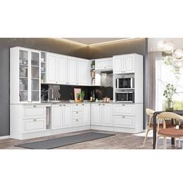 Cozinha Completa Americana 10 Peças com Cristaleira Branco HP - Móveis Henn