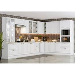 Cozinha Completa Americana 12 Peças com Cristaleira Branco HP - Móveis Henn