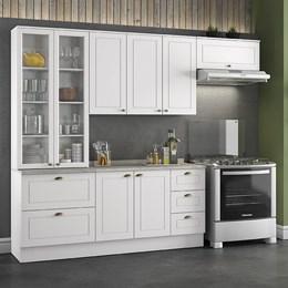 Cozinha Completa Americana 4 Peças com Cristaleira Branco HP - Móveis Henn