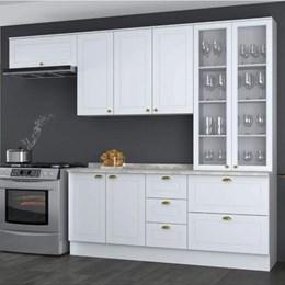 Cozinha Completa Americana 5 Peças com Cristaleira Branco HP - Móveis Henn