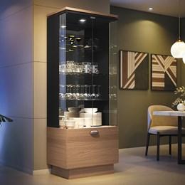 Cristaleira Diamante com LED e Portas de Vidro Nature/Preto - PR Móveis
