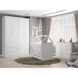 Dormitório Americano 4 portas com Berço Montessoriano Cabana - Branco HP -  Móveis Henn