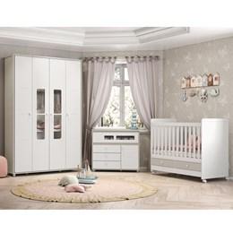 Dormitório Aquarela - Branco/Cristal - Móveis Henn
