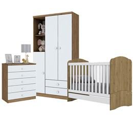 Dormitório Bala de Menta - Branco/Rústico - Móveis Henn
