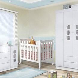 Dormitório Livia com Berço 3 em 1 Lila Grade Fixa - Phoenix Baby / Carolina Baby