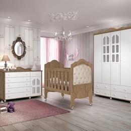 Dormitório Provence com Berço Provence New com Capitonê Bege - Amêndoa/Acetinado - Planet Baby