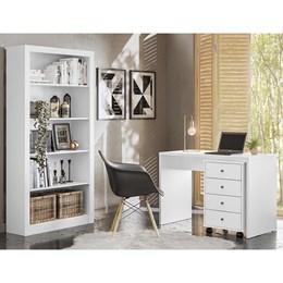 Escrivaninha com Gaveteiro e Estante Livreiro Office Presence Branco – Demóbile