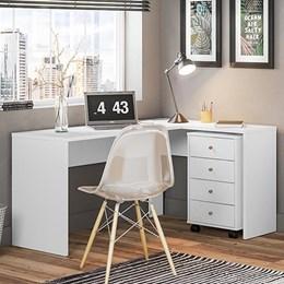 Escrivaninha de Canto com Gaveteiro Office Land Branco - PR Móveis