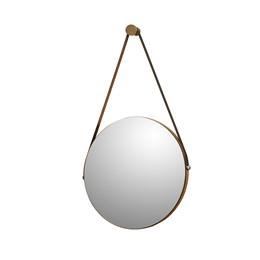 Espelho Decorativo Redondo com Alça de Couro Sunset Carvalho - PR Móveis