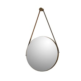Espelho Decorativo Redondo com Alça de Couro Sunset Malbec - PR Móveis