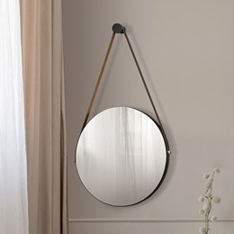 Espelho Decorativo Redondo com Alça de Couro Sunset Preto - PR Móveis