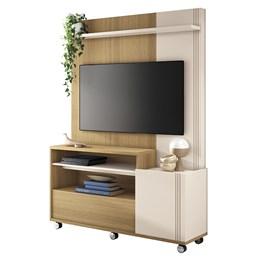 """Estante Home Theater Clean para TV de até 50"""" Freijó/Off White - PR Móveis"""