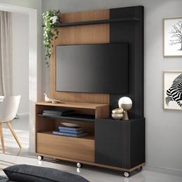 """Estante Home Theater Clean para TV de até 50"""" Nature/Preto - PR Móveis"""